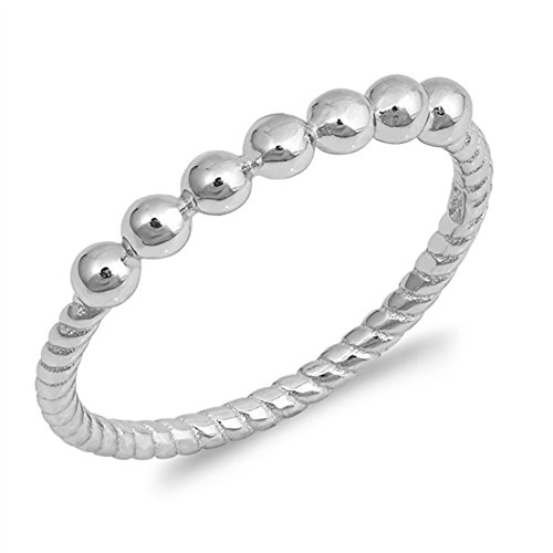 Ball Bead Stackable Ring New .925 Sterling Silver Rope Twist Band Size (Sterling Shiny Twist Bead)