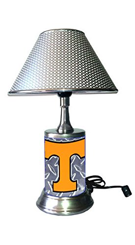Rico Table Lamp with Chrome Colored Shade, Tennessee Volunteers Plate Rolled in on The lamp Base, Base Wrapped with Diamond Metal Plate