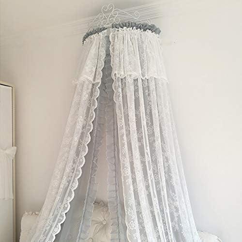 姫ベッドキャノピー,装飾的なドレープと金属の王冠が付いている裁判所シフォンベッドカーテン 弓-寝室のための結び目-f