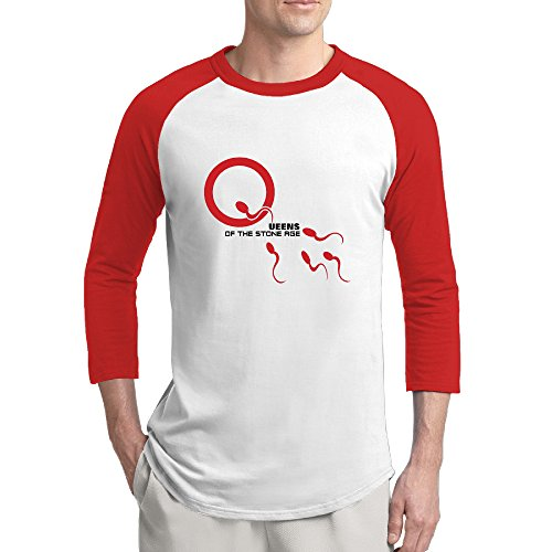 Men's Queens Of The Stone Age Sample This School Boy Contrast Color 3/4 Sleeve Raglan T-shirts