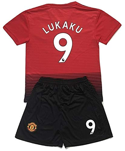 Gadzhinski2017 Lukaku #9 Manchester United 2018-2019 Kids/Youths Home Soccer Jersey & Shorts (7-8 Years Old)