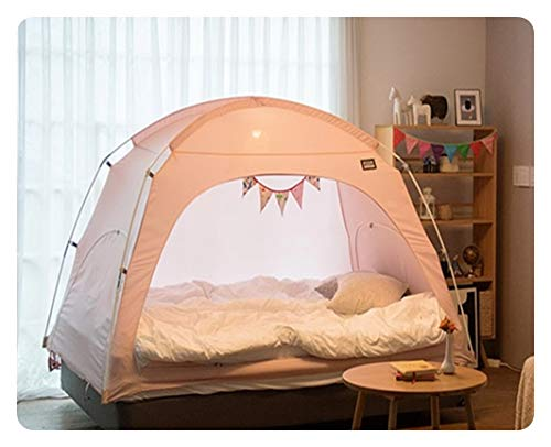 DDASUMI Fabric Indoor Tent for Double Bed (Pink) - Blocking Cold air, Privacy, Play Tent