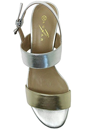 FANTASIA BOUTIQUE ® JLE064 Collins Ladies Padded Block Heel Strappy Metallic Fashion Sandals Gold / Silver fCbA4Y8zz9
