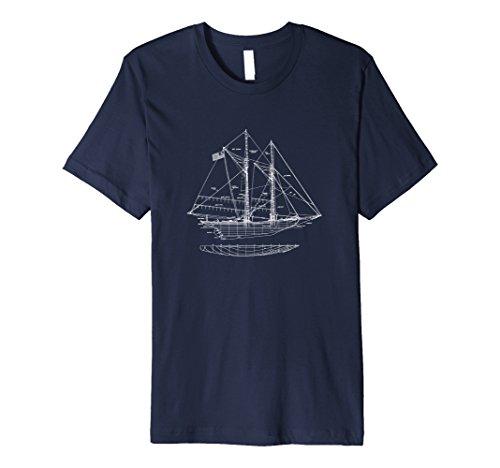Mens Premium Blueprint Sailboat Tshirt - Vintage Sailing Boat Tee Large Navy