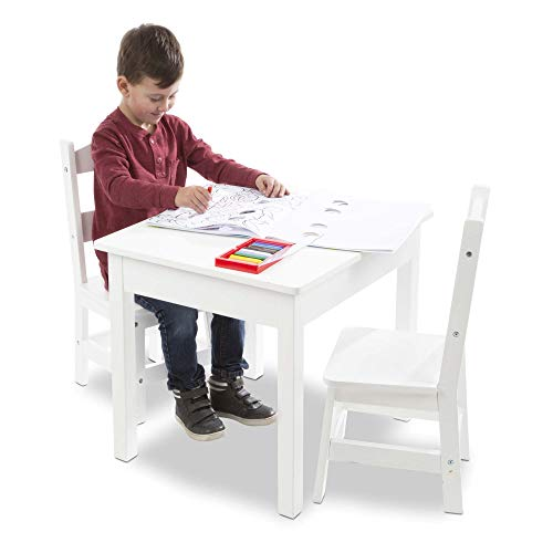 """Melissa & Doug Solid Wood Table & Chairs (Sturdy Wooden Construction, 100-Pound Capacity, Easy to Assemble, 3-Piece Set, 20"""" W x 23.5"""" H x 20.5"""" L)"""