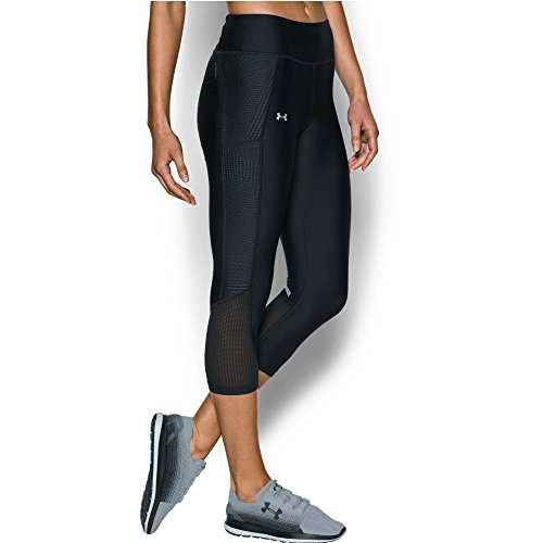 Under Armour Women's Fly-By Printed Capri, Black/Metallic Silver, X-Small