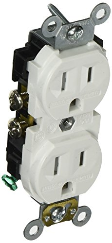 Leviton CR15S-GW 15-Amp, 125-Volt, Narrow Body Duplex Receptacle, Straight Blade, Commercial Grade, Self Grounding, Tamper Resistant, White