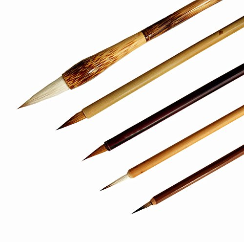 Pebble Art 5 PCS Professional Blue Squirrel Hairs Watercolor Paint Brushes Chinese Japanese Calligraphy Sumi Brushes by Pebble Art