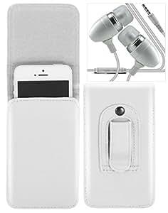 BlackBerry Priv Estuche vertical de cinturón - alta calidad Estuche bolsa para teléfono móvil de cinturón de piel PU con un fuerte enganche incorporado con auriculares / micrófono metálicos Jack 3.5mm universal ( Blanco ) - LOLO®