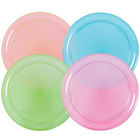 Hard Plastic Plates 9-Inch Round Party/Luncheon Plates Assorted Neon  sc 1 st  Amazon.com & Amazon.com: Hard Plastic Plates 9-Inch Round Party/Luncheon Plates ...