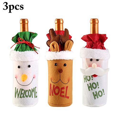 Christmas Wine Bottle Covers, Coxeer 3PCS Xmas Red Wine Bottle Cover Bags Santa Claus Snowman Reindeer Decoration Bag Dinner Table Decoration Xmas Gift Christmas Party