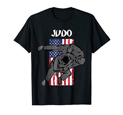 Judo Girl - Judo sparring TShirt with Emblem and USA Flag