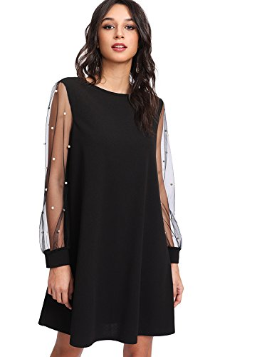 DIDK Women's Pearl Beading Mesh Long Sleeve Dress Black S