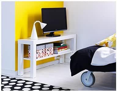 طاولة تلفاز بيضاء مستطيلة، مقاس 90سم × 26سم × 45سم، مع رف سفلي، مطلية بالأكريليك