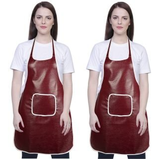 Yazlyn Collection Rexine Waterproof Kitchen Apron Brown Color with Front Pocket-Set of 2