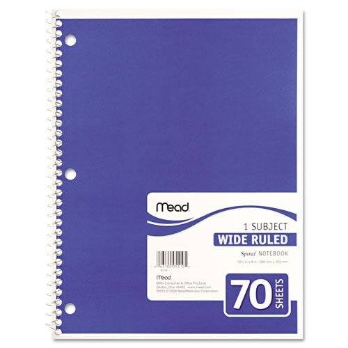 043100055105 - Mead Spiral 1-Subject Wide-Ruled Notebook, 1 Notebook, Color May Vary, Assorted Colors  (05510) carousel main 1
