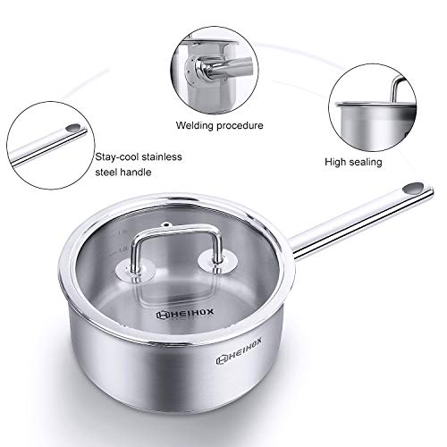 2 Quart Saucepan with glass Cover- HEIHOX Chef's Classic Stainless Steel Induction Bottom Soup cooking Pot Cookware, Silver,Multipurpose Use for Home Kitchen or Restaurant