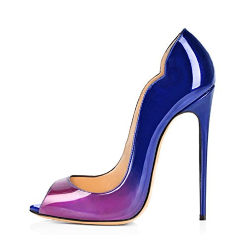 High Shoes Court Pumps Women Gradient Wedding Extreme Stilettos Peep Leather Patent Toe Sandals Emiki Blue Color Heel purple Party wqB7CIxq