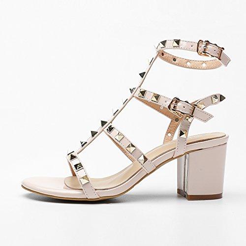 Verano Mujer zapatos de cuero sandalias de verano tacones altos,38 amarillo nude