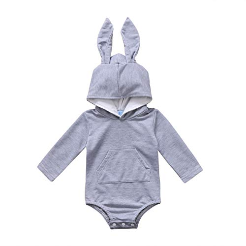 Bulingna Cute Baby Girl Boy Long Sleeve Bunny Hooded Romper Jumpsuit One-Piece Easter Outfit (Gray, 0-3 Months) ()
