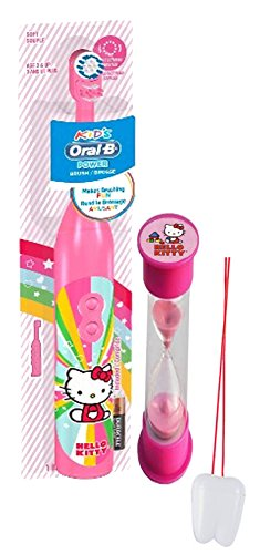 "Hello Kitty Inspired 2pc Bright Smile Oral Hygiene Set! Turbo Spin Toothbrush & Brushing Timer! Plus Bonus ""Remember to Brush"" Visual Aid!"