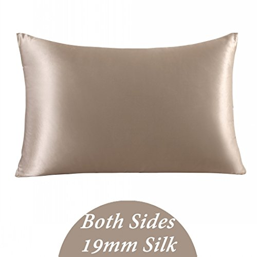 ZIMASILK 100% Mulberry Silk Pillowcase for Hair and Skin,with Hidden Zipper,Both Side 19 Momme Silk, 1pc (Queen 20''x30'', Taupe),Gift Packed