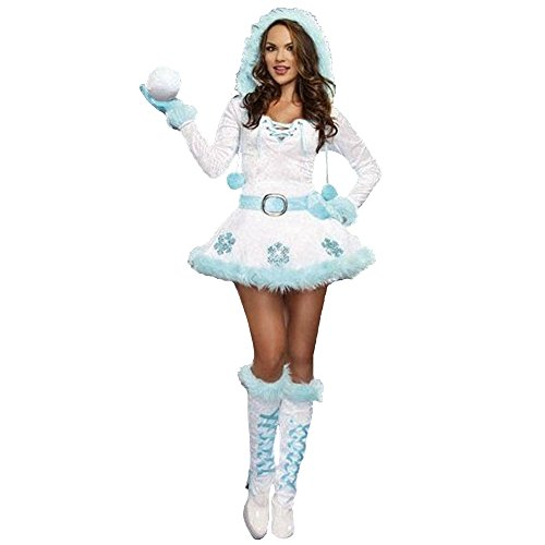 [ZNFQC Winter Women Christmas Snowman Costume Outfits Performance] (Snow White The Queen Costume)