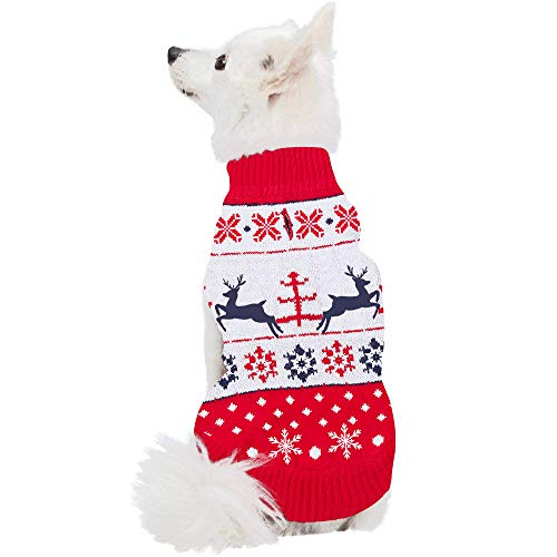 r Labrador Reindeer Sweater Christmas Pet Doggie Pup Ugly Xmas Coat Apparel White Large ()