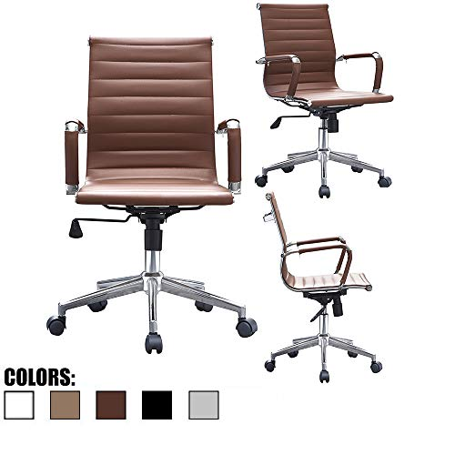 2xhome Mid Century Office Chair with Arms Wheels Modern Desk Chair Ergonomic Executive Chair Mid Back PU Leather Arm Rest Tilt Adjustable Height Swivel Task Computer Conference Room Brown