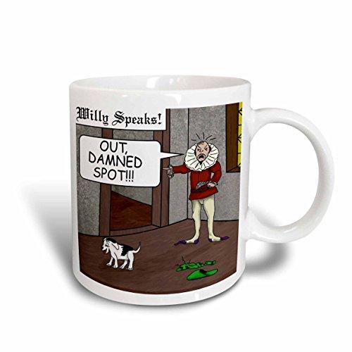 3dRose Out Damned Spot Humor Shakespeare Cartoon Mug, 11-Ounce (Switch Shakespeare)