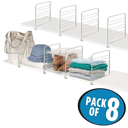 mDesign Versatile Metal Wire Closet Shelf Divider and Separator for Storage and Organization in Bedroom, Bathroom, Kitchen and Office Shelves - Easy Install - 8 Pack - Satin