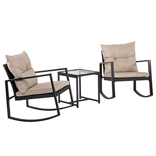 (FDW Patio Wicker Furniture Set 3PCS Outdoor Rocking Chair Rattan Sofa Garden Coversation Set with Two Chairs and One Coffee Table)