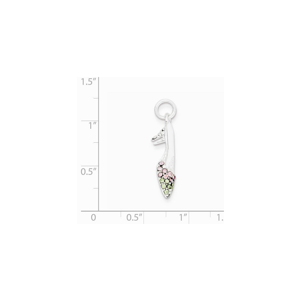 Sterling Silver Pink and Green CZ High Heel Shoe Charm on an Adjustable Chain Necklace