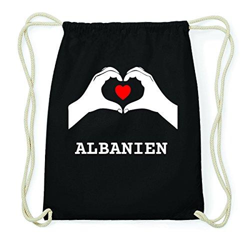 JOllify ALBANIEN Hipster Turnbeutel Tasche Rucksack aus Baumwolle - Farbe: schwarz Design: Hände Herz