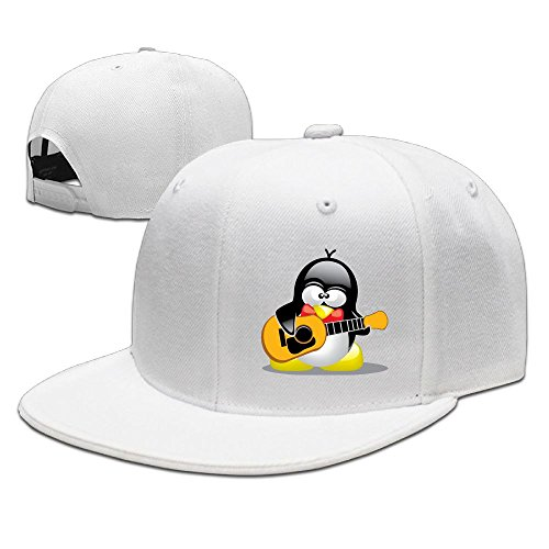 CaCaJessica Mens Guitar Penguin Casual Style Baseball White Caps Adjustable -