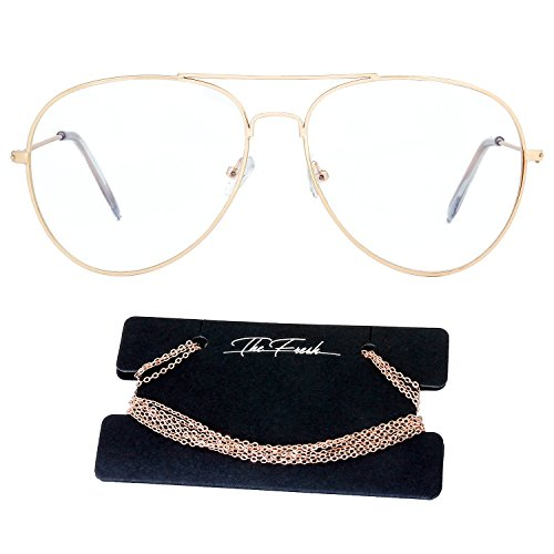 The Fresh Classic Metal Frame AR Coating Clear Lens XL Oversized Aviator Sunglasses and Necklace Eyeglass Chain Holder (1-Gold/Rose Glod Chain-1A, - Gold Eyeglasses Aviator