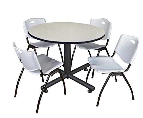 Regency Kobe 48-Inch Round Breakroom Table, Maple, and 4 M Stack Chairs, Grey (Regency Round Chair)