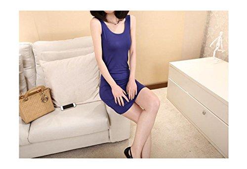 Arjosa® Partie Midi Cotonnades Moulante Mince Casual Femmes Robe # 10 Bleu Royal
