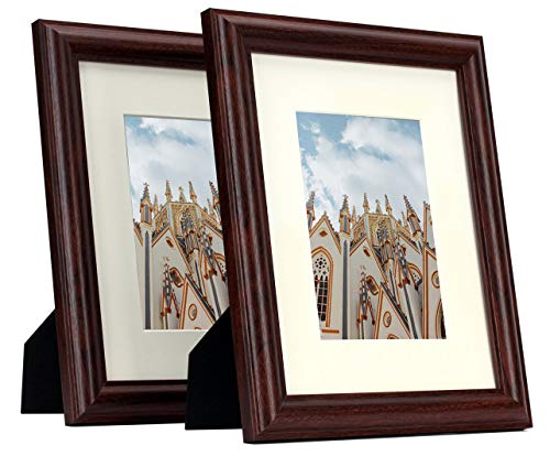 Frametory, Set of 2-8x10 Photo Frame - Ivory Mat for 5x7 Pictures- Walnut Color, Curved Bevel Design - Sawtooth Hanger, Swivel Tabs, Easel Stand - Wall Display or Tabletop Display