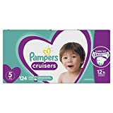 Pampers Diapers Size 5, Cruisers Disposable Baby Diapers, 124 Count, Economy Pack Plus (Packaging May Vary)