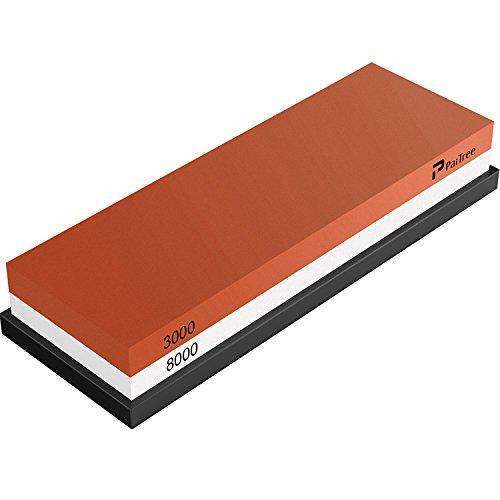 Sharpening Stone , 3000/8000 Grit Whetstone Premium Knife Sharpener Water Stone Kit by PaiTree , Safe Honing Holder Silicone Base Included (3000/8000 Grit)