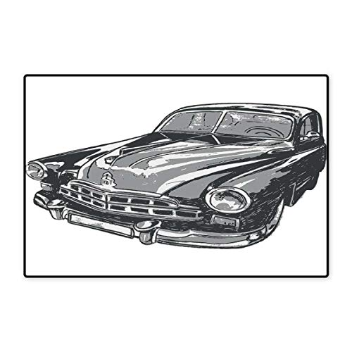 Cars Bath Mats Carpet Hand Drawn Vintage Vehicle with Detailed Front Part Hood Lamps Rear View Mirror Customize Door mats for Home Mat 24