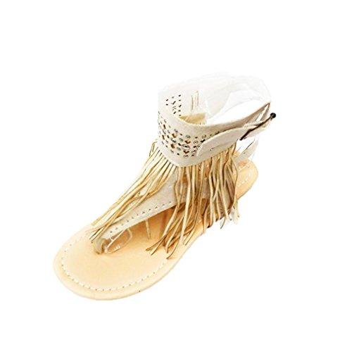 Sandalias de vestir, Ouneed ® Las mujeres de verano de flores flip flops playa Bohemia sandalias planas Gris