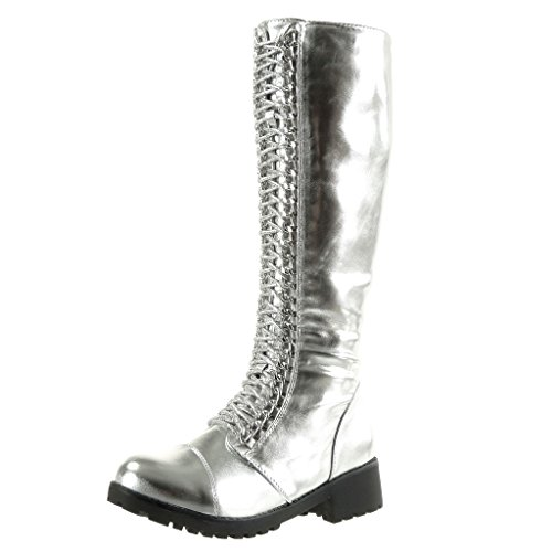Angkorly Fashion Straps Chains high Multi 4 Boots Block Silver Shoes Women's Biker Cavalier Heel cm r5qTr8