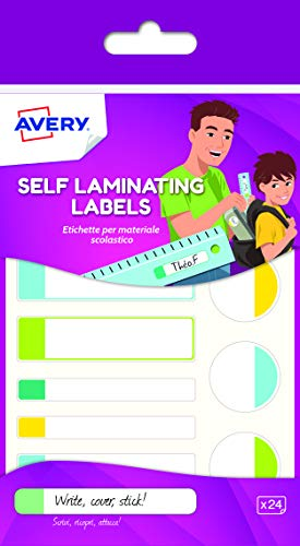 Avery Self Laminating Labels, 86 x 17 mm, 24 Labels Per Pack, Pastel Colours - Mm Pastel 17