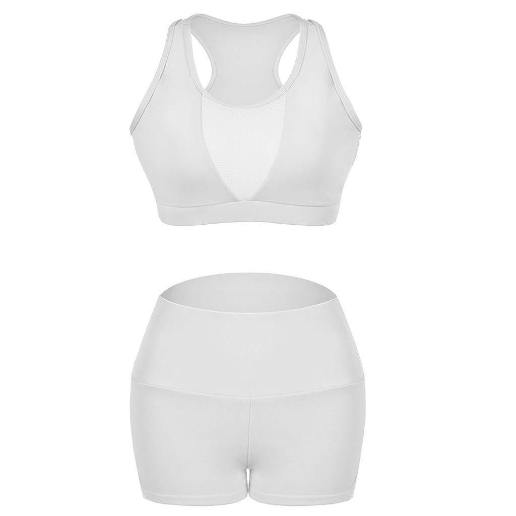 Yoga Set Shorts Women Sleeveless Gym Elastic Sport Fitness Solid Tank Tops Pants Suit