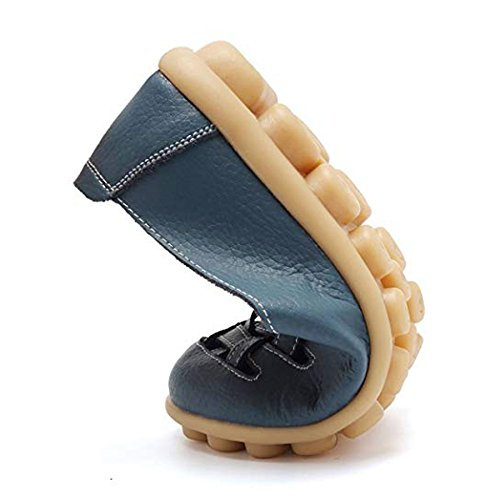 Shoes Blue xwd5577 Soft Leather Women Casual Driving On Women's Work Slip Orangetime Walking Loafers Comfort Shoes Flats Shoes Leather 0ZxqTUwx