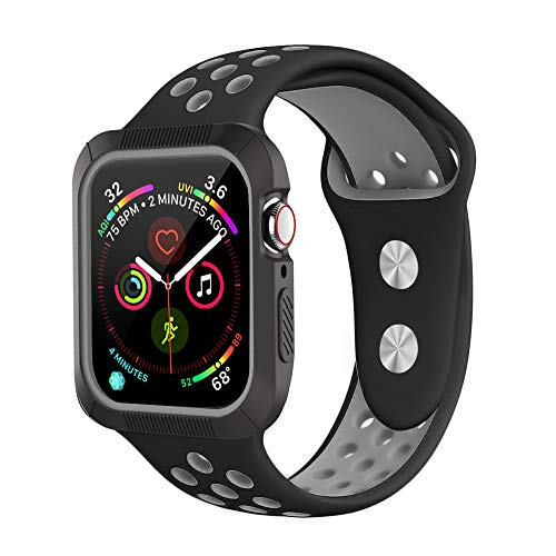 qiongen Compatible Apple Watch Band 40mm 44mm with Case, Shock-Proof and Shatter-Resistant Protective Case with Silicone Sport Band, Compatible iWatch Band Series 4