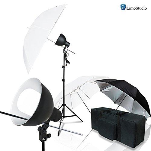 LimoStudio Photo Video Studio Photography Black & White Umbrella Reflector Diffuser Light Kit Studio Light Bulb with Reflector Dish Bowl, AGG2571 by LimoStudio