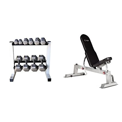 89610af46 CAP Barbell 150 lb. Hex Dumbbell Set with Rack and Deluxe Utility Weight  Bench Bundle